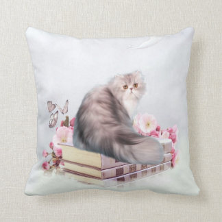 Persian cat and books throw pillow