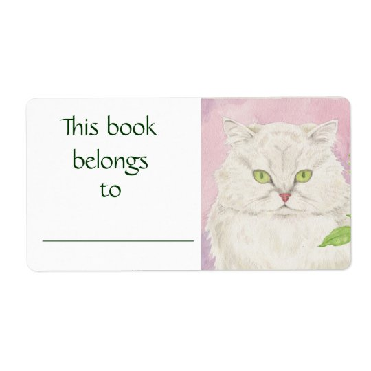 Persian Cat book label Shipping Label