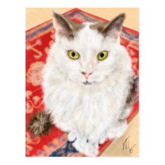 Persian cat on a red Persian carpet Postcard