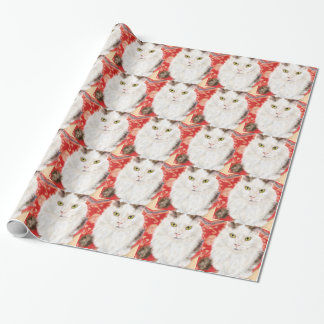 Persian cat on a red Persian carpet Wrapping Paper