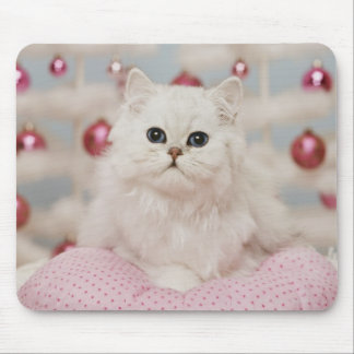 Persian cat sitting on pink pillow mouse pad
