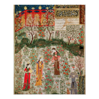Persian Garden, 15th century (w/c on paper) Poster