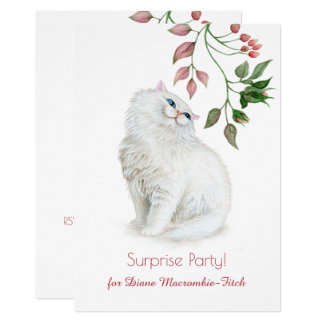 Persian Kitten Pink Green Floral Birthday Party Card