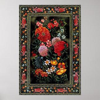 Persian miniature of precious shining flowers poster