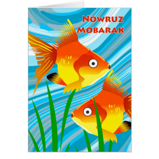 Persian New Year, Nowruz Mobarak, Goldfish Scene Card