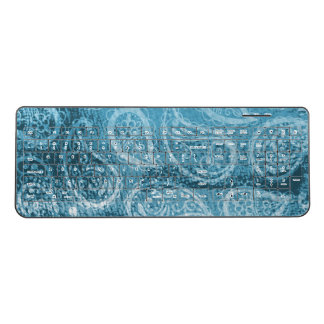 Persian Paisley Pattern Blue Hindu Traditional Wireless Keyboard