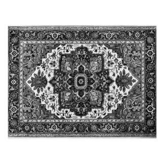 PERSIAN RUG - Black & White Postcard