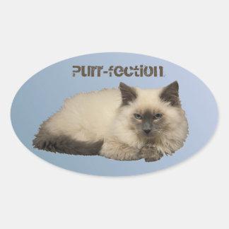 Persian Siamese Cat Oval Sticker