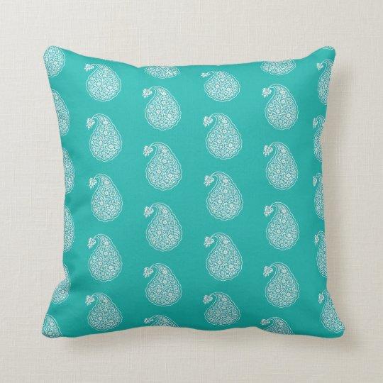 Persian tile paisley - white on turquoise throw pillow