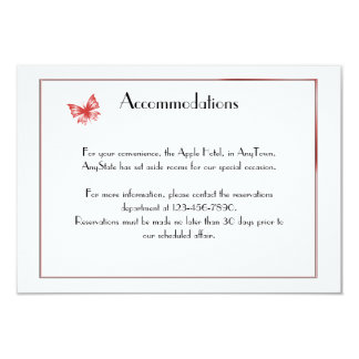 Persimmon Butterfly Heart Wedding Insert Card