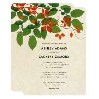Persimmon & Green Floral Vine Wedding Invitation