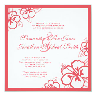 Persimmon & White Hibiscus Flowers Custom Wedding Card