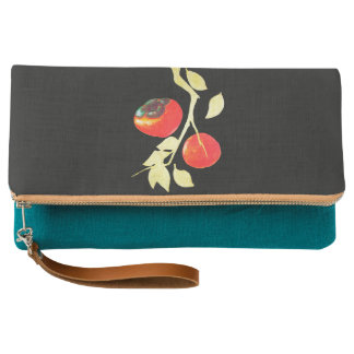 Persimmon with gold branch clutch