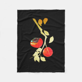 Persimmon with gold branch fleece blanket