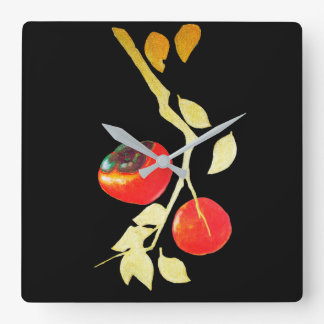 Persimmon with gold branch square wall clock