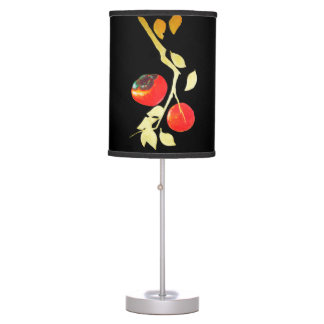 Persimmon with gold branch table lamp