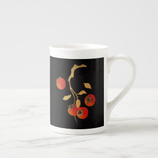 Persimmon with gold branch tea cup