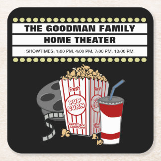 Persoalized Family Home MovieTheater Customized Square Paper Coaster