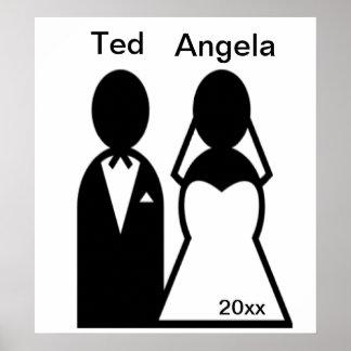 Person Icon Wedding Couple Silhouette Poster