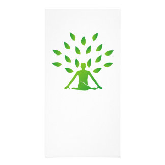 Person meditating under a tree photo cards