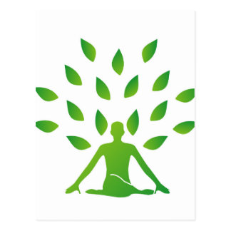 Person meditating under a tree postcard