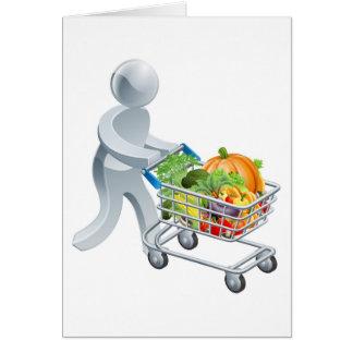 Person pushing trolley with vegetables card