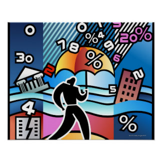 Person walking with numbers falling on umbrella poster