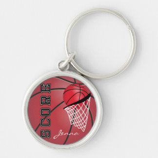 Personailize Red Basketball Silver-Colored Round Keychain