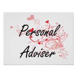 Personal Adviser Artistic Job Design with Hearts Poster