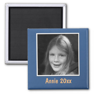 Personal Blue Greeting Custom Photo and Text Magnet