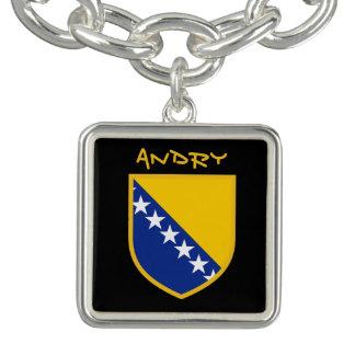 Personal Bosnia Flag Charm Bracelet
