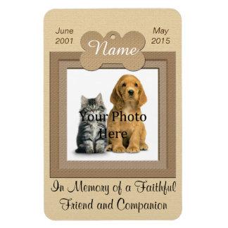 Personal Cat or Dog Memorial Beige Rectangular Photo Magnet