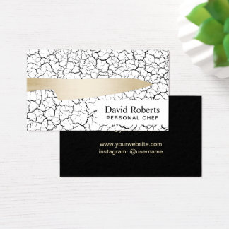 Personal Chef Catering Modern Gold Knife Business Card