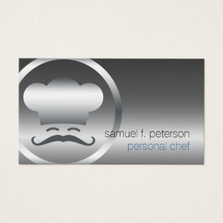 Personal Chef Chrome Chef Hat Icon Food Services Business Card