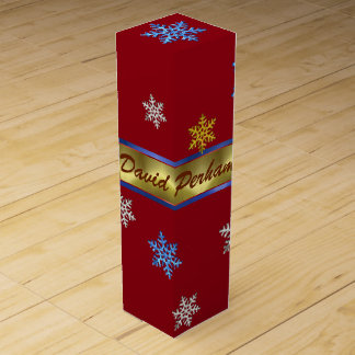 PERSONAL CHRISTMAS WINE GIFT BOX, RED GOLD BOX WINE BOTTLE BOXES