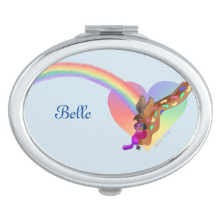 Personal Compact Mirror - Heart Rainbow & Lila