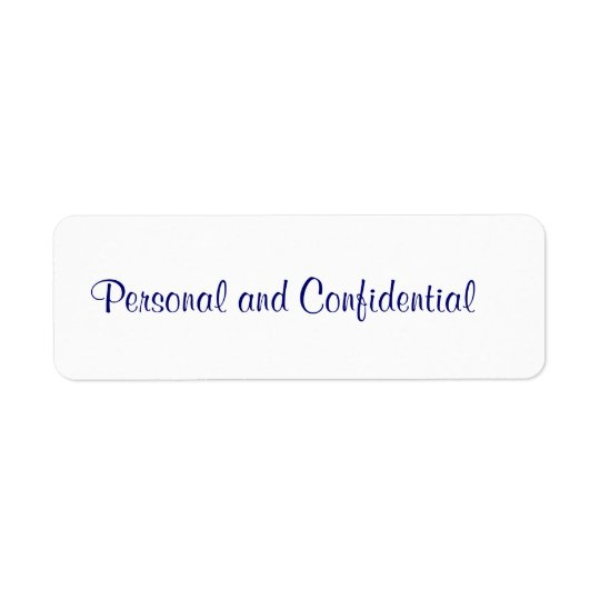 Personal Confidential Label Return Address Label