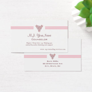 Personal Counselor luxury stripes and pink phoenix Business Card