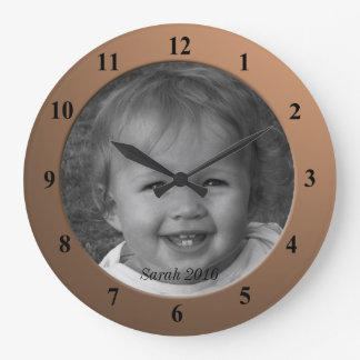 Personal Custom Photo and Text Bronze Frame Clock