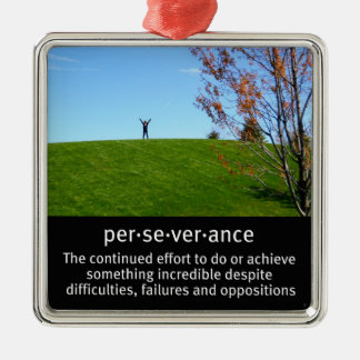 Personal Determination and Perseverance Silver-Colored Square Ornament
