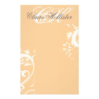 Personal Girly Floral Swirls Monogram Personalized Stationery