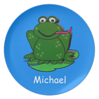 Personal Kid's Plate with FEED ME frog.