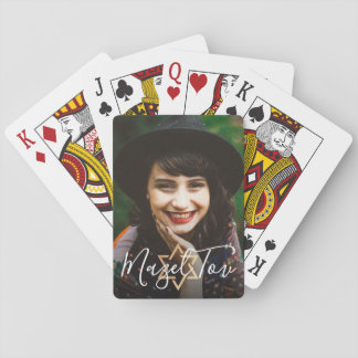 Personal Message Mazel Tov Gold Jewish Star Photo Playing Cards