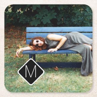 Personal Monogram Family Photo Collage A01. Square Paper Coaster