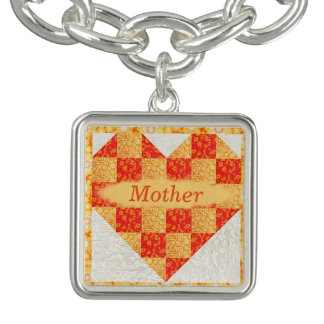 Personal Mother Quilt Look Charm Bracelet