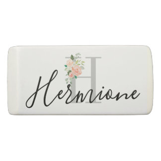 Personal Name and Monogram Any Color Floral Eraser