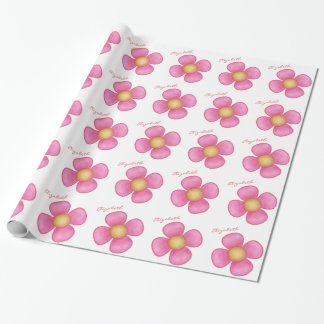 PERSONAL NAME PINK FLOWER GIFT WRAP