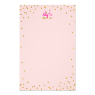 PERSONAL NOTE mini spot confetti gold glitter pink Stationery