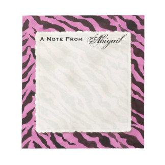 Personal Notes Hot Pink Black Zebra Stripe Print