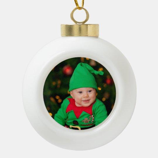 Personal Photo Ceramic Ball Christmas Ornament